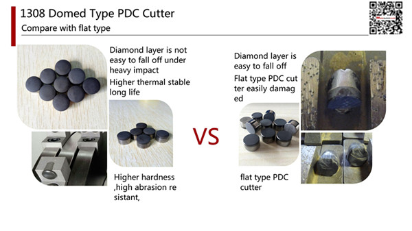 1308 domed type PDC cutter